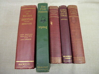 Lot - 5 Early 1900s Vintage Books A Life of William Shakespeare The Five Nations