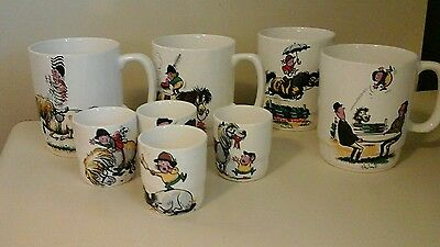 Norman Thelwell 4 Mugs 4 egg cups set lot Horse Equestrian Jumping England Vtg