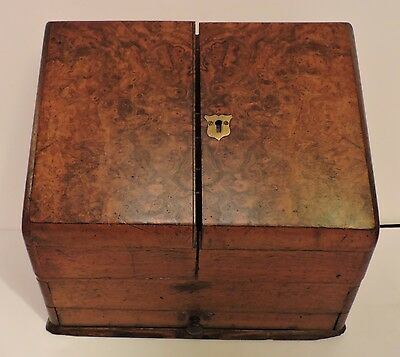 Fine Antique Burl Walnut 19Thc Letter Stationary Document Cabinet Box Victorian