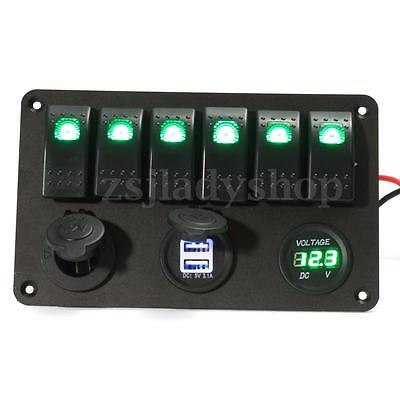 6 Gang LED Rocker Switch Panel Circuit Breakers USB Chargers Car RV Boat Marine