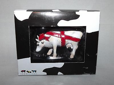 "Cow Parade Mini Sculpture Figure ""Present"" #46550 Copyright 2008 Cow Red Bow New"