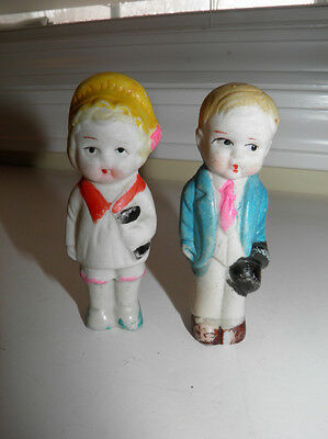 2 Vintage Small Bisque Dolls Frozen Charlottes - Boy And Girl - Made In Japan