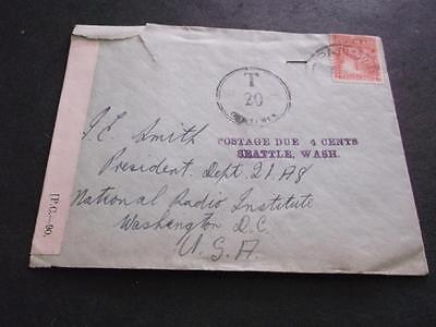 NEW ZEALAND COVER 1930's TO USA 20 CENTIMES POSTAGE DUE OPENED BY CENSOR    RS