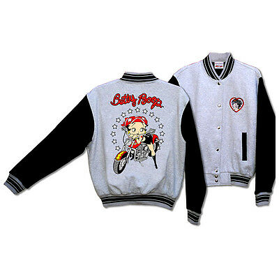 Licensed Betty Boop Biker Motorcycle Scoot Baseball Jacket Gray Black BJ-9029XXL