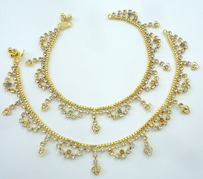 Diamante Gold Tone Indian Bridal Belly Dance Anklet Payal Jewelry Festive Sale