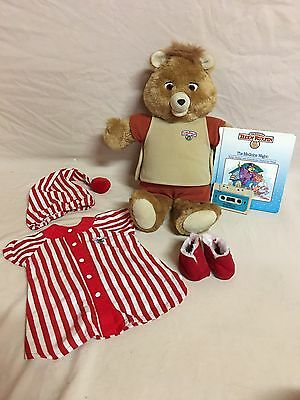 Vintage 2nd Generation Teddy Ruxpin Lot With Medicine Wagon Book/tape~works