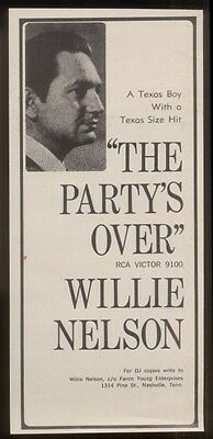 1967 Willie Nelson photo The Party's Over trade ad
