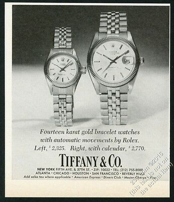 1978 Rolex Date watch with Tiffany dial photo vintage print ad