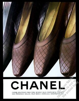 1991 Chanel women's leather shoes color photo vintage print ad