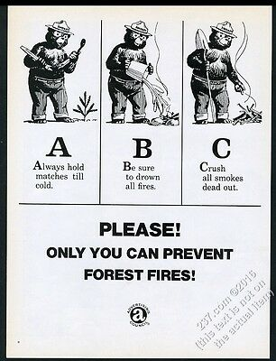 1969 Smokey the Bear ABC art Prevent Forest Fires vintage print ad