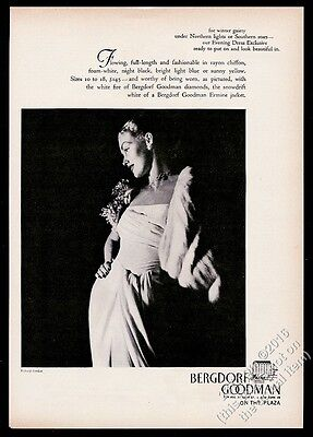 1946 Richard Avedon woman evening dress photo Bergdorf Goodman vintage print ad