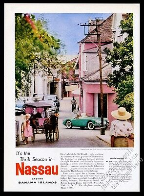 1959 M.G. MG MGA green car photo Nassau Bahamas travel vintage print ad