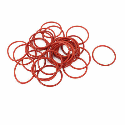 30pcs 1.5mm Thick Heat Oil Resistant Mini O-Ring Rubber Sealing Ring 23mm OD Red