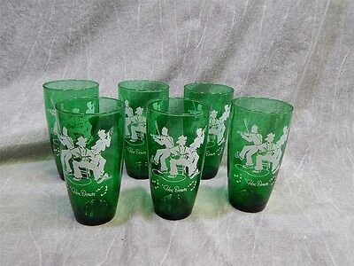"6 Anchor Hocking HOE DOWN Glasses in Green 5.75"" x 3"""
