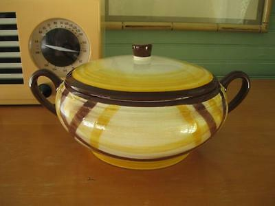 Vintage Vernon Kilns ORGANDIE Covered Casserole-Server w/Lid-Brown-Yellow-Plaid