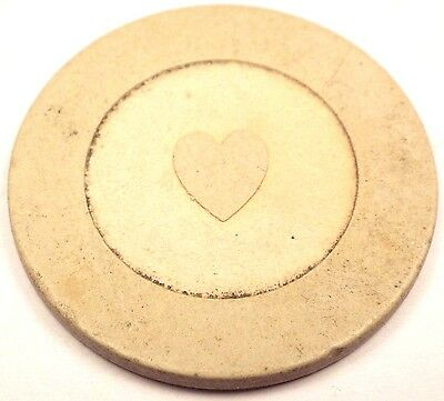 Antique HEART IN CIRCLE Poker Casino Chip White