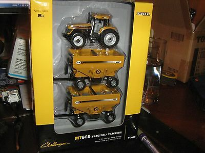 Ertl Agco Challenger MT 665 Tractor and 2 J&M 680 Wagons 1/64 16265