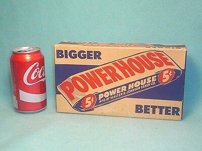 VINTAGE 1940's 50's POWERHOUSE 24 COUNT CANDY BAR BOX