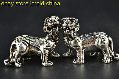 China Myth Style Collectible Old Tibet Silver Unicorn Pair Statues Decor Noble