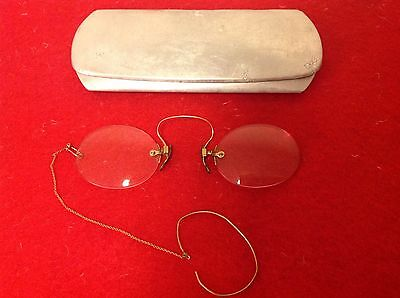 Antique Pince-Nez Spectacles In Case