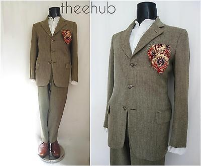 Vtg 1970s Bespoke Savile Row 2 Piece Herringbone Tweed Country Suit Redmayne