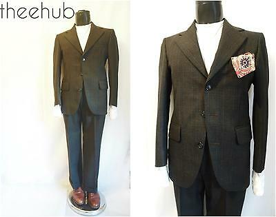 Superb Vtg 60s Worsted Check 3 Button Cuff Trousers 2 Piece Suit Dunn & Co
