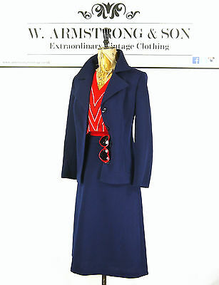 VINTAGE 70s Twin Set TWO PIECE Skirt Jacket NAVY Mad Men PURE WOOL Chic UK 12