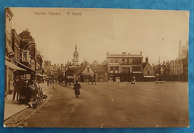 RP Postcard POSTED 1914 MARKET SQUARE ST.NEOTS HUNTINGDONSHIRE