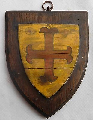 Antique Painted Wooden Shield Plaque With Cross