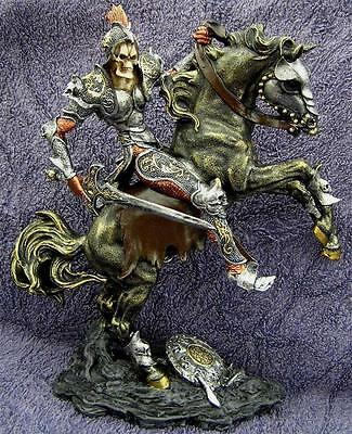 DEATH OR GLORY SCULPTURE Horse Skeleton Grim Reaper Mythical Gothic Figure Skull