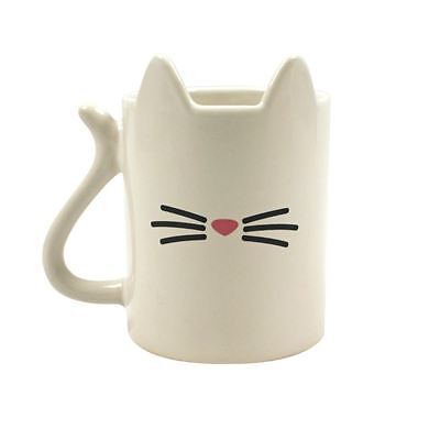 Cat Shaped 3D Mug Funny Coffee Cup White Cat Lover Gift