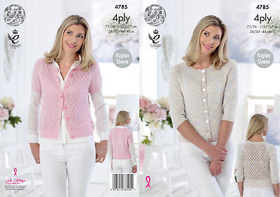 Womens Knitting Pattern Lacy Panel Raglan Sleeve Cardigans King Cole 4 Ply 4785