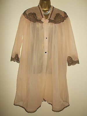 """Vtg Double Layer Ultra Sheer See Thru Nylon Lacy Peignoir Nightie Gown 42-44"""""""