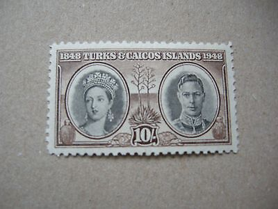 Turks & Caicos Islands 10/- stamp brown KGVI 1948 lightly Mounted Mint