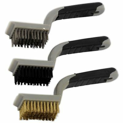 Sealey 3pc Wide Body Wire Brush Set Stainless Steel Nylon Brass Cleaning