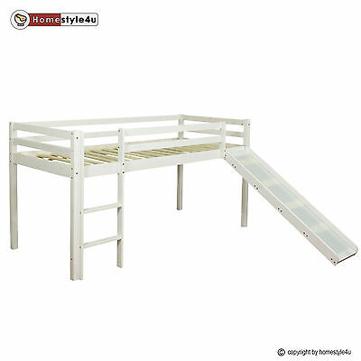 Lit enfant lit mezzanine superposé blanc bois pine 90x200 single Diapositive