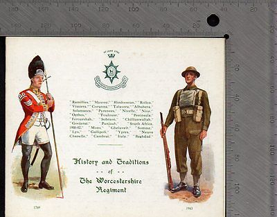 Military - Worcestershire Reg History & Traditions Folded Card - Gale & Polden