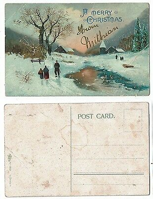Cornish Post Card A Merry Christmas From Mithian