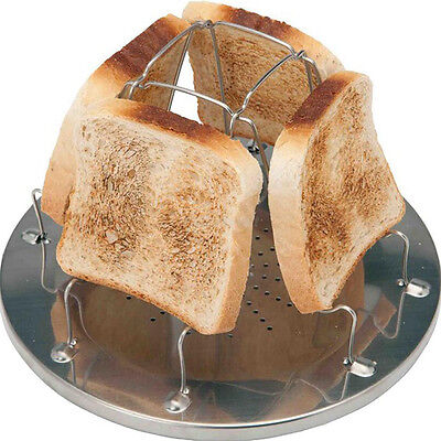 Camping Toaster Rack 4 Slice Toast Tray for Camp Gas Stoves Cooker Kitchen Tool