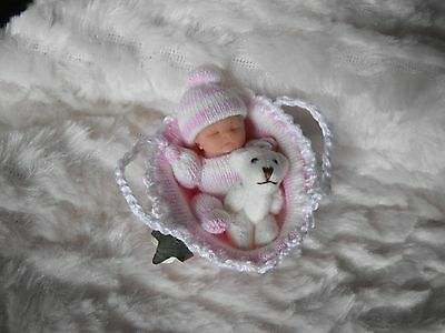 OOAK   miniature  5 cm  soft jointed polymer clay baby girl  & crib  by Carol