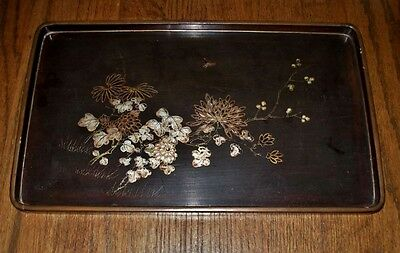 Outstandingly EXQUISITE Lacquer WOOD Tray SIGNED FOOCHOW Insect and FLOWERS Wear