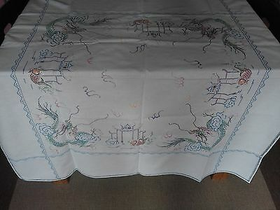Beautiful Vintage Tablecloth Cross Stitched Eastern Design 49 inches x 46 inches