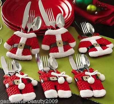 1Set Christmas Decoration Cloth/Pants Shape Knife Fork Bags Cutlery Sets New