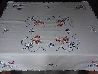 Pretty Cross Stitched Vintage Tablecloth Roses 32 inches x 33 inches