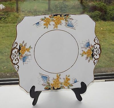 Tuscan China R H Plant  c1930s Cake Plate Yellow Floral  Art Deco