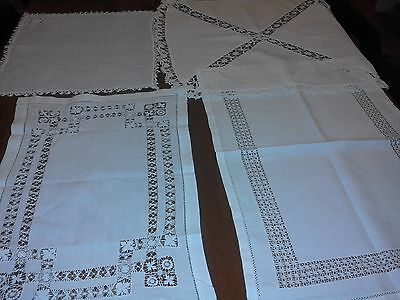 4 Lovely Old White Cotton Table Runners