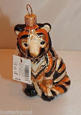 ASIAN TIGER Dillards Trimsetter Blown Glass Made in Poland Christmas Ornament