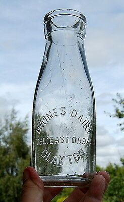 Lovely early Baines of Clayton : milk bottle : dairy pint