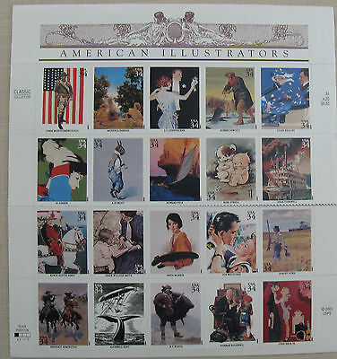 America Illustrators. 20 all different  One Sheet  of USA Stamps. Self Adhesive
