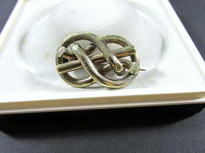 Antique Victorian Rolled Gold Love Knot Brooch Pin